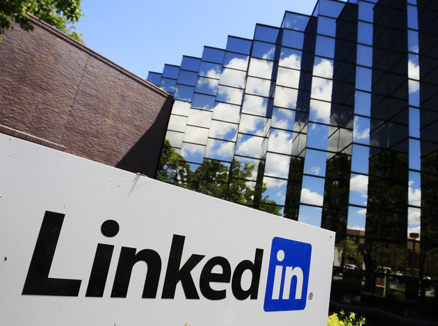 LinkedIn Corp., the professional networking Web site, displays its logo outside of headquarters in Mountain View, Calif., Monday, May 9, 2011. LinkedIn Corp. plans to sell shares to investors for $32 to $35 each in an initial public offering, one of the first for a major U.S. social networking site. (AP Photo/Paul Sakuma)